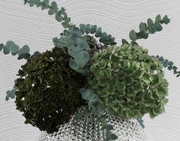 3D model Green hydrangeas with eucaliptus Baby blue in 1