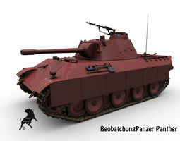 beobachtungpanzer  panther 3d model max obj fbx