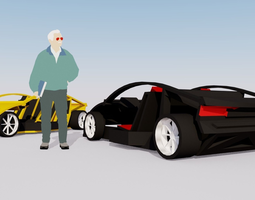 game-ready extruda modulare electric race car frame 3d asset