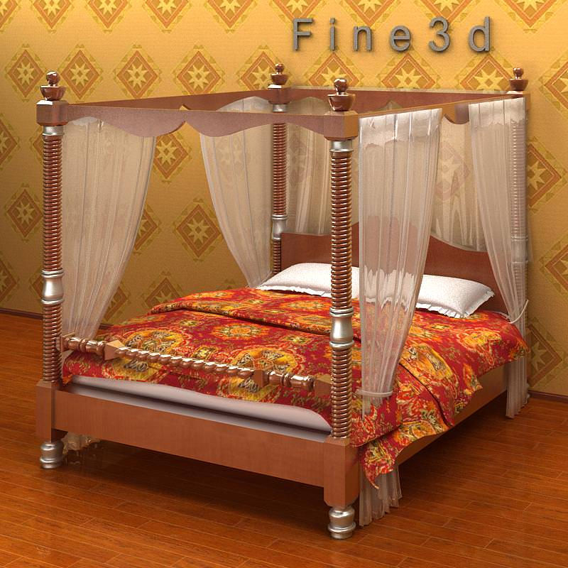 double bed with canopy 3d model max obj 3ds
