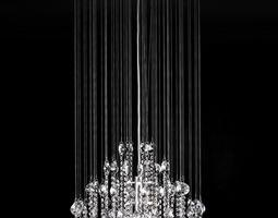 Oval Shape Hanging Crystal Lamp 3D model