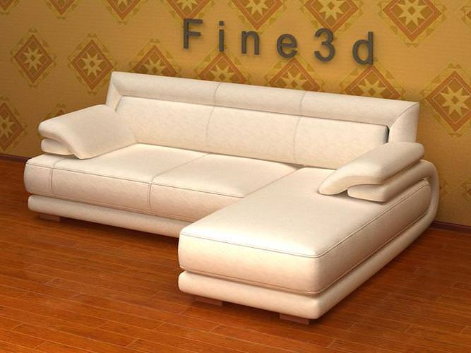 White Angular Sofa3D model