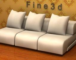 White Cushioned Sofa 3D model