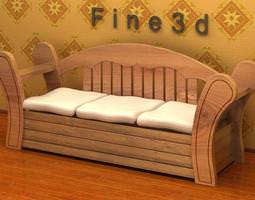 3D Wooden Bench with Cushions