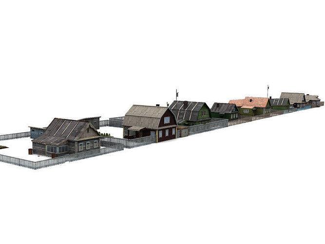 village 3d model low-poly max 3ds fbx 1