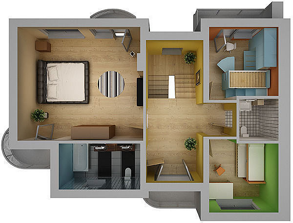 Home interior floor plan 02 3d model cgtrader Home 3d model