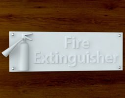 3d Printable Fire Extinquisher sign STL OBJ 3D Model