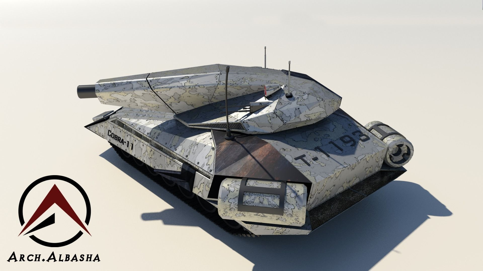 Future Tank 3d Model Low Poly Max Obj 3ds Fbx Mtl 5