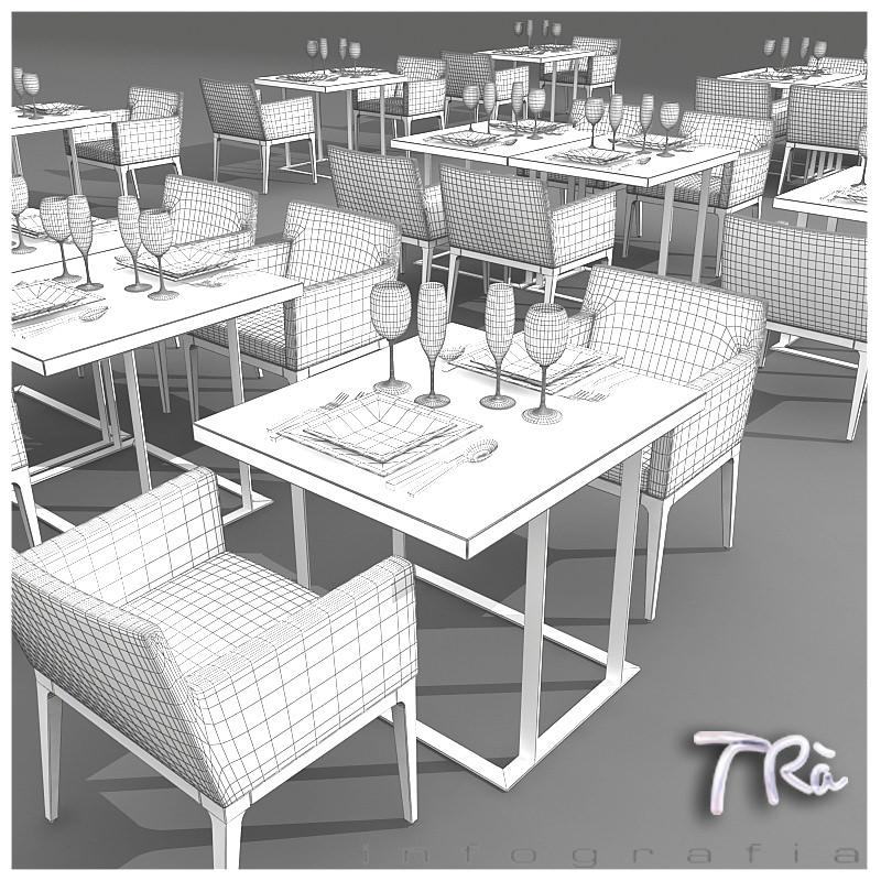 RESTAURANT TABLES AREA 3D Model .max