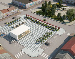 City Plaza Market Square Full Scene 3D