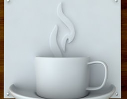 3d printable Coffee sign STL OBJ 3D Model