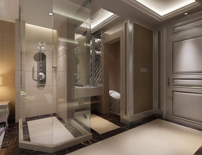 Photoreal bathroom 3d model cgtrader for Model bathroom designs