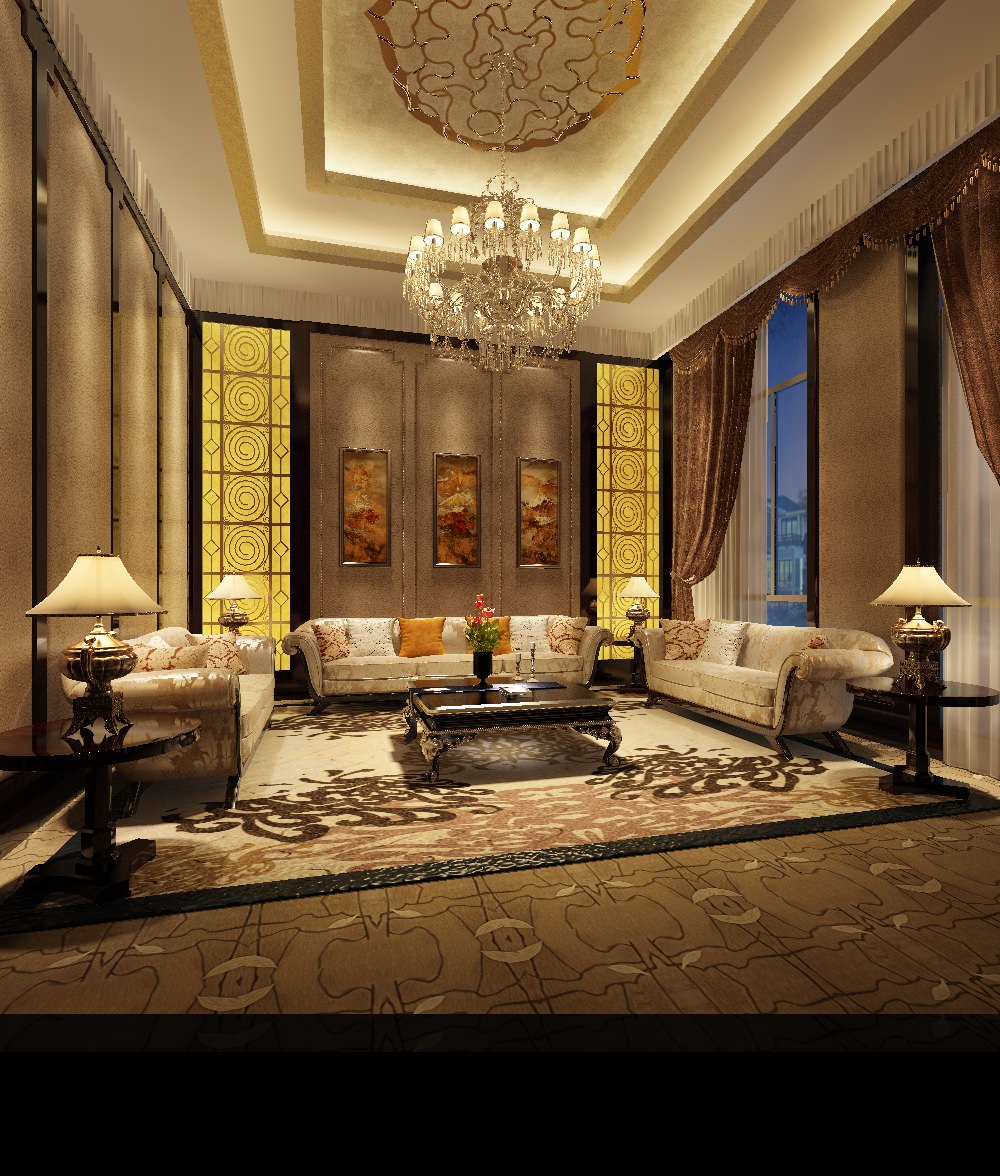 Photoreal High Ceiling Living Room 3d Model Max