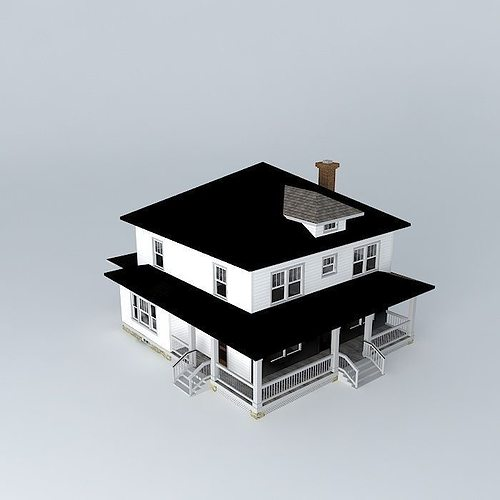 Foursquare house free 3d model max obj 3ds fbx stl dae for Cuisine sketchup 8
