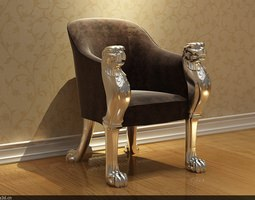 Chair with Panther Heads 3D Model