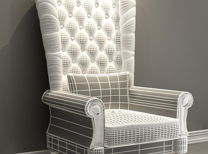 ... Patched High Back Chair 3d Model Max 2
