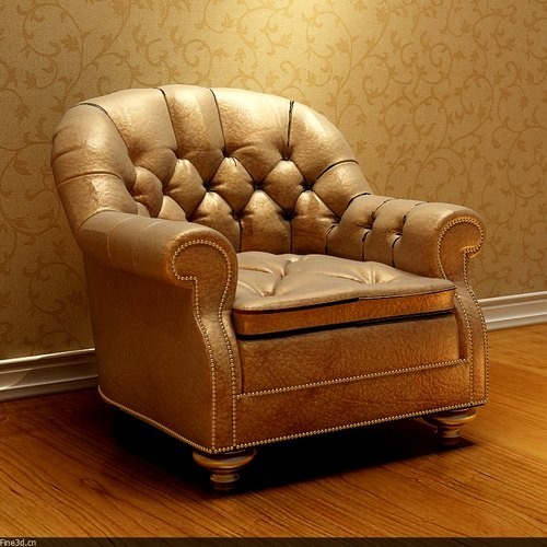 Golden Leather Armchair3D model