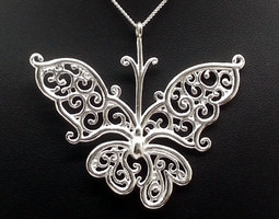 Silver Filigree Butterfly Pendant 3D Model