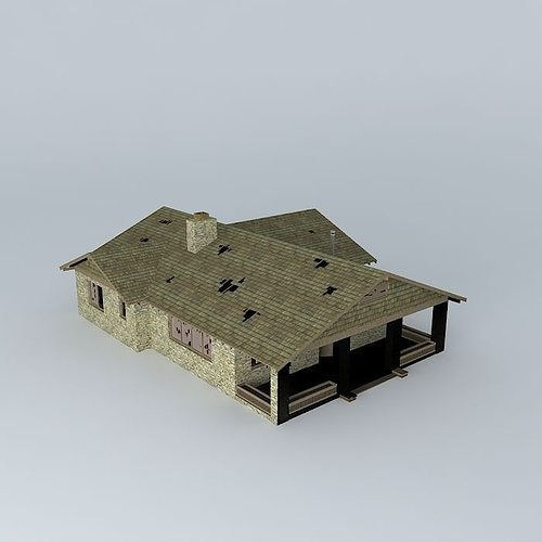 Abandoned house free 3d model max obj 3ds fbx stl dae for Free 3d house models