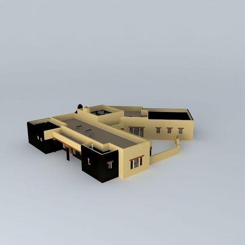 Pueblo Style House Free 3d Model Max Obj 3ds Fbx Stl