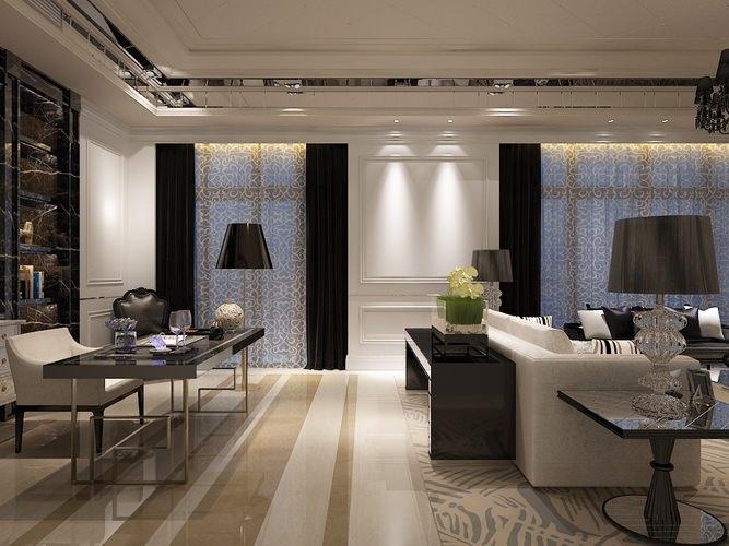 living room work desk interior photoreal 3d model max 1