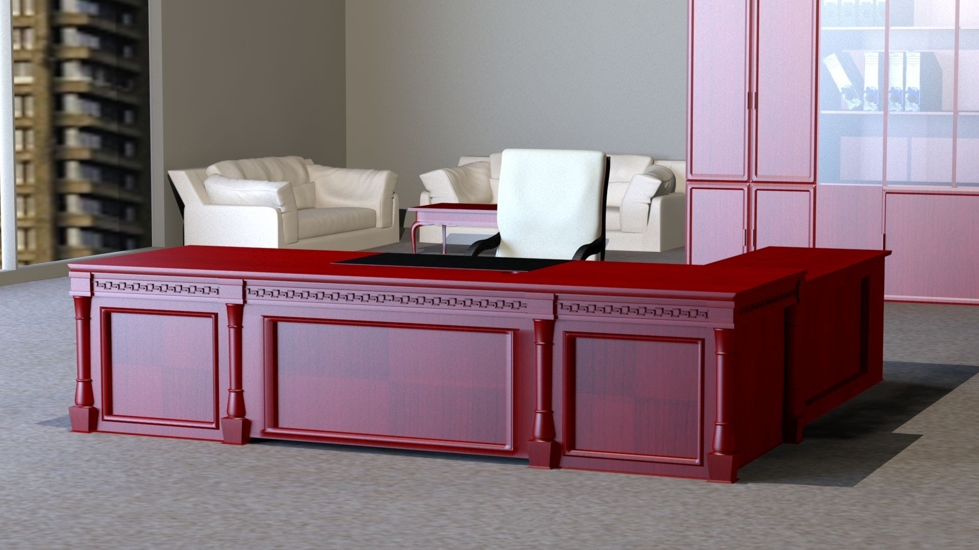 Classic Executive veneer desk with office furniture free 3D