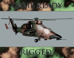 battle helicopter rigged 3d