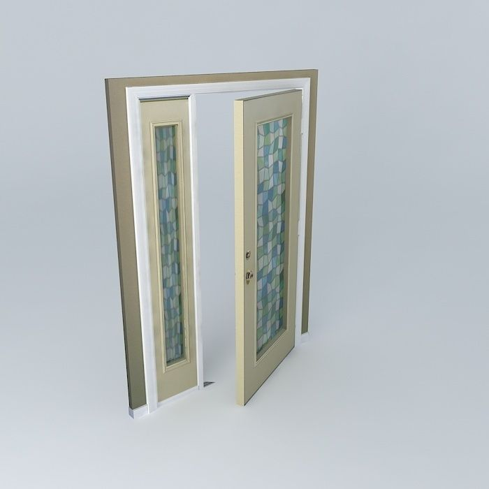 Cream Door And Frame With Modern Stained Glass Windows
