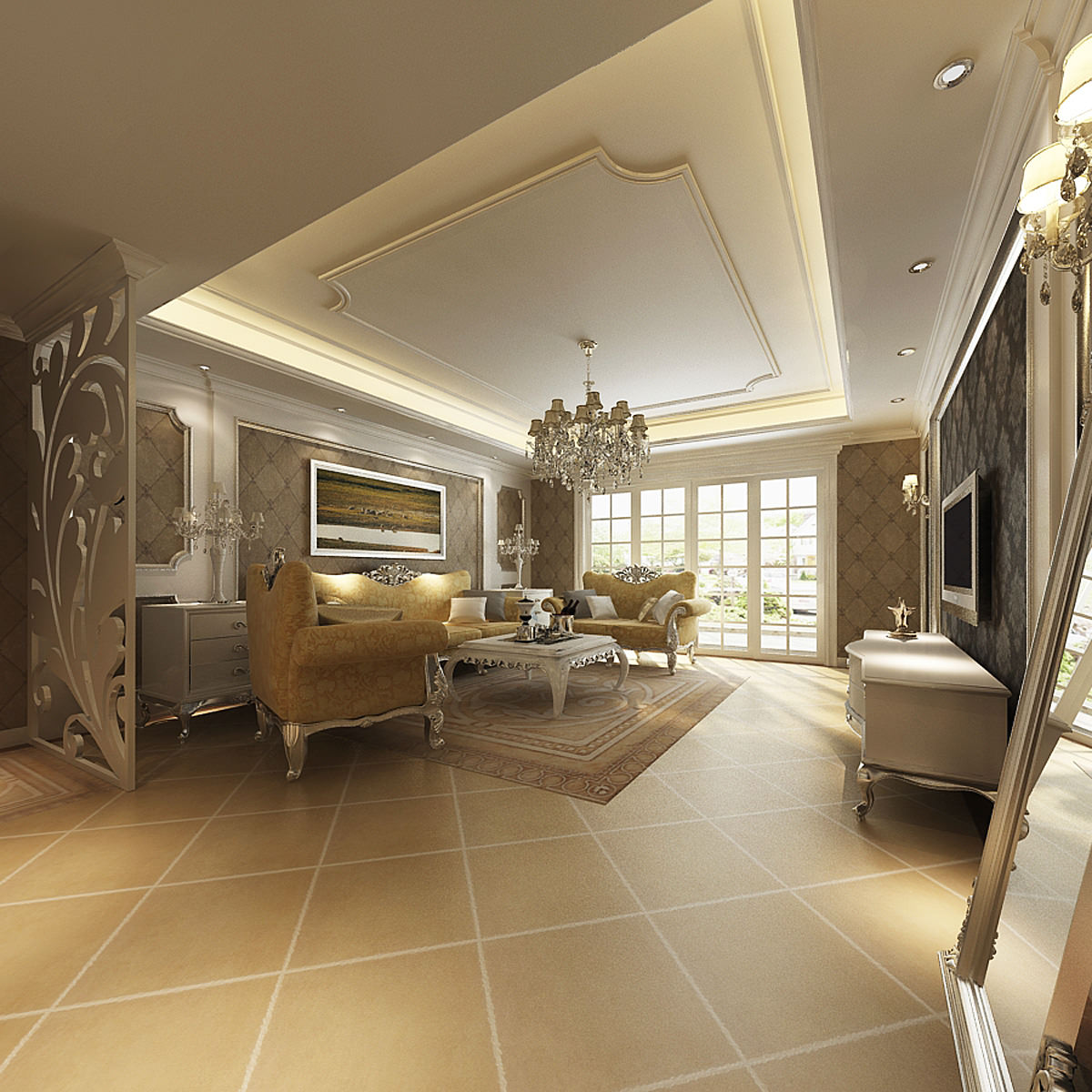Photoreal luxurious living room interior 3d model max for Living room 3d model