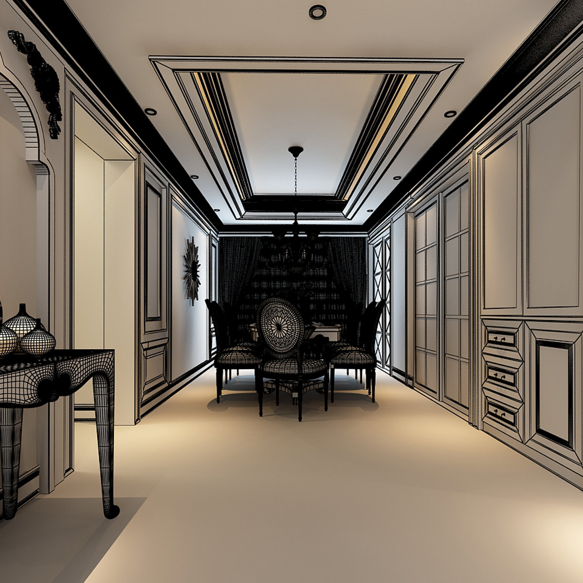 Luxurious American Style House Interior Photoreal 3D model MAX