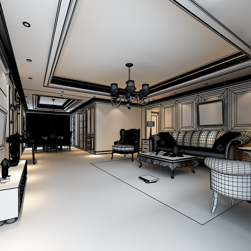 Luxurious american style house interior ph 3d model max for American style house interior