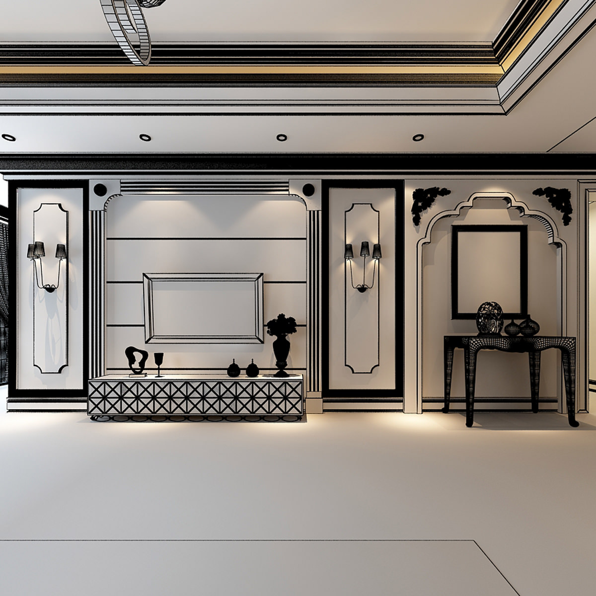 Luxurious American Style House Interior Ph 3d Model