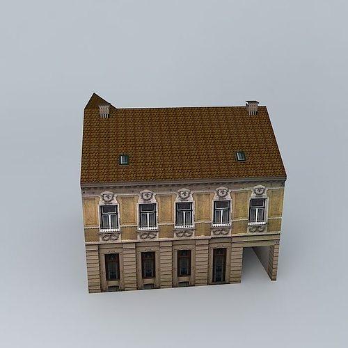 Old European House 3d Model Low Poly Max Obj 3ds Fbx Stl Dae 1