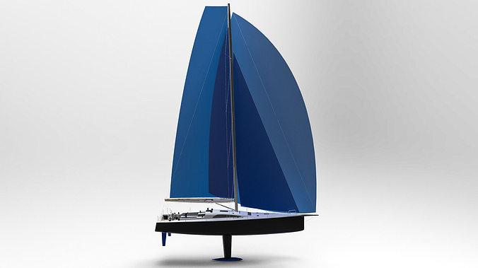 sailing yacht 50 ft 3d model obj mtl stl ige igs iges 1
