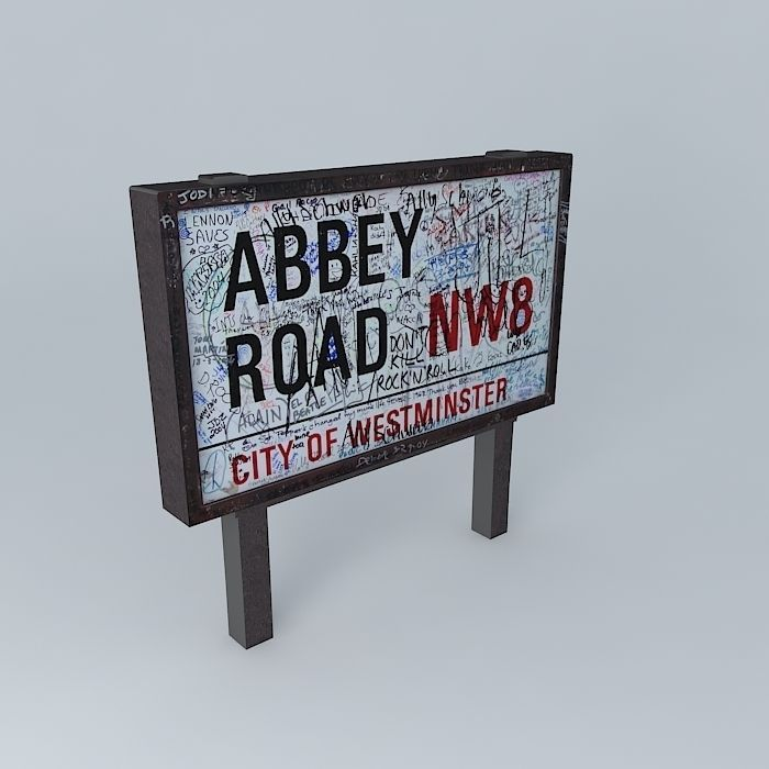 Abbey Road NW8 Sign 3D model   CGTrader