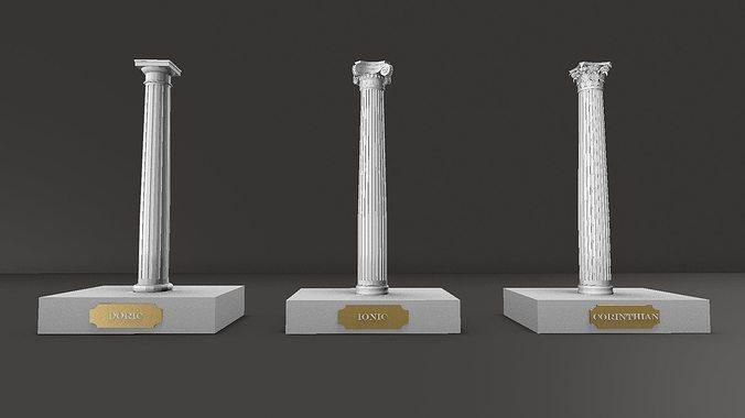 classical columns     doric ionic corinthian for educational use 3d model stl 1
