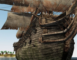 Pirate ship of the 18th century 3D Model