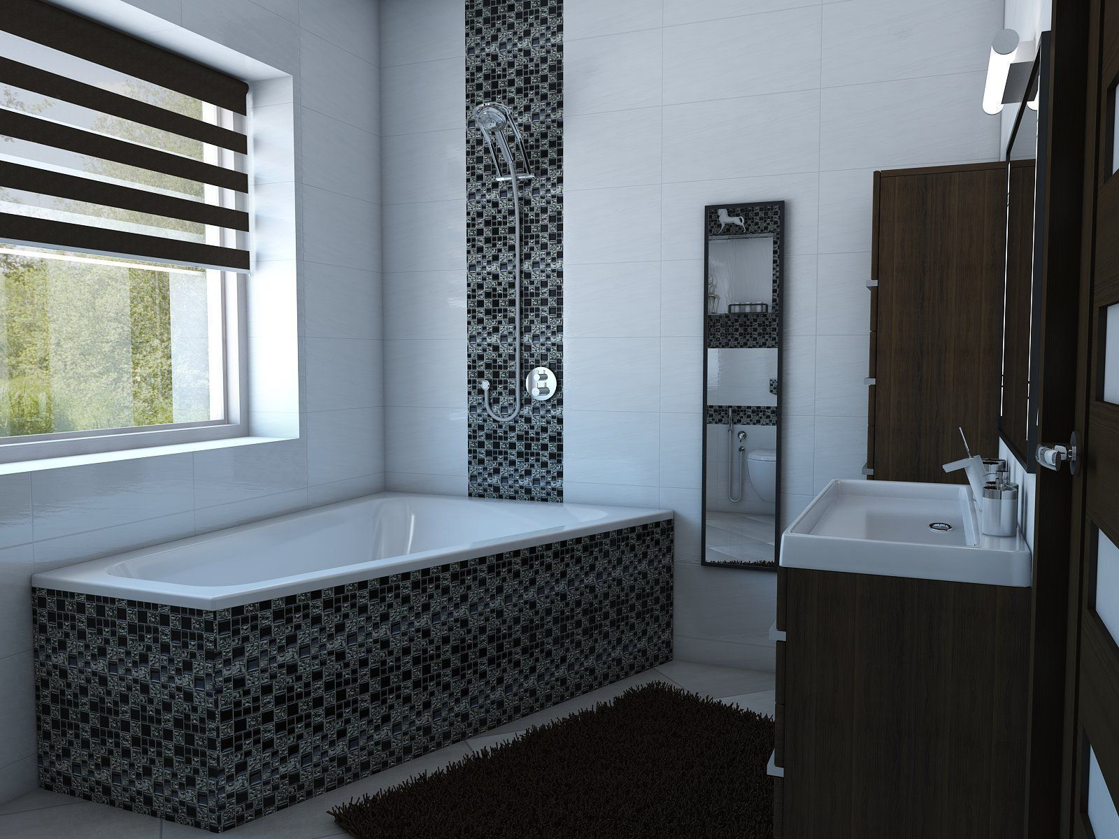 Bathroom Model bathroom with angular bath 3d model max obj 3ds fbx skp