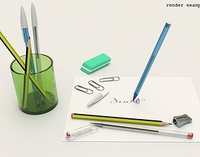 3D model pen stationery collection