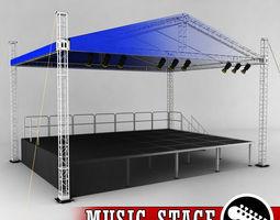 3D model Music stage platform scaffolding