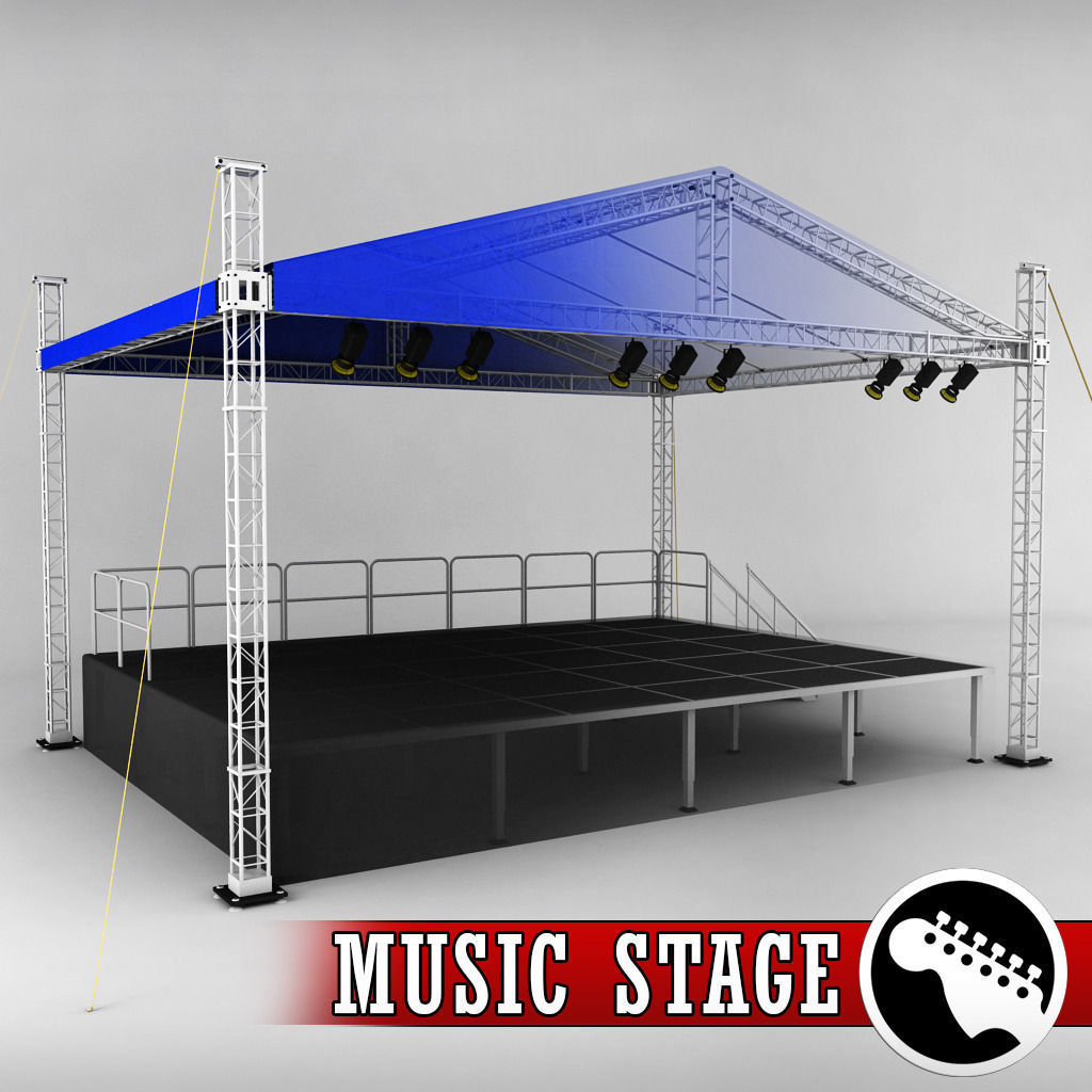 stage for sale deck music stage platform scaffolding 3d model light cgtrader