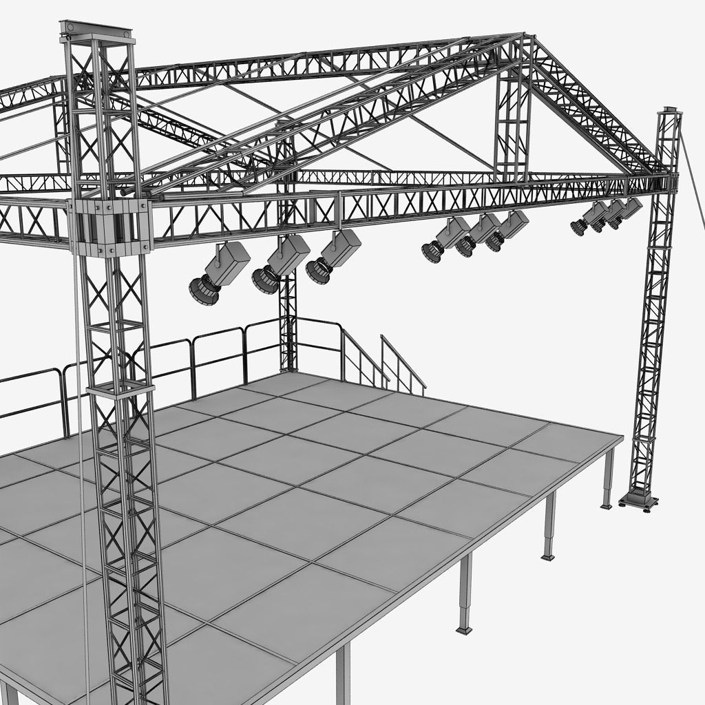 Music Stage Platform Scaffolding 3D Model MAX OBJ 3DS FBX