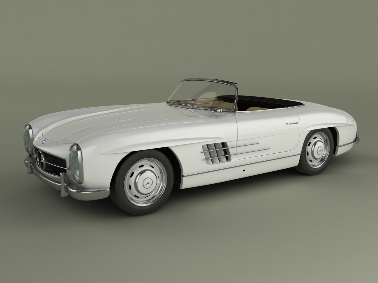 Mercedes benz 300sl convertible 3d model max 3ds for Models of mercedes benz