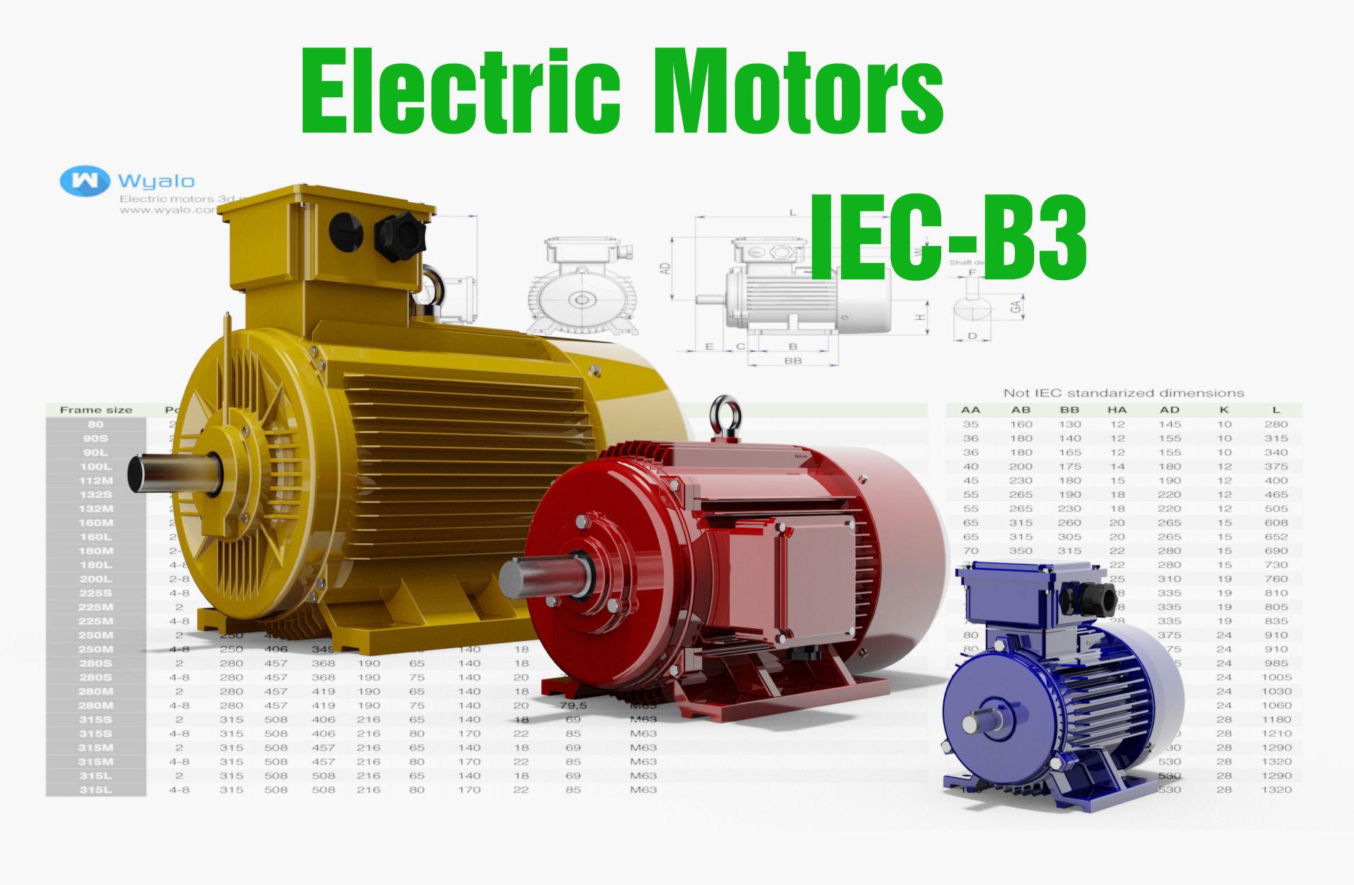 72 CAD Models - Electric motors IEC B3 | 3D model