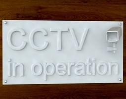 3d printable cctv sign stl obj 3d model obj stl