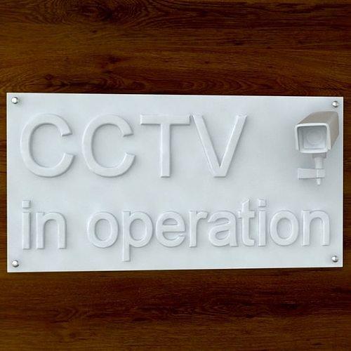 3d printable cctv sign stl obj 3d model obj stl 1