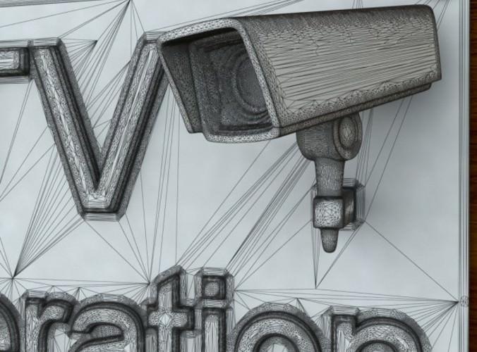 3d Printable CCTV sign STL OBJ