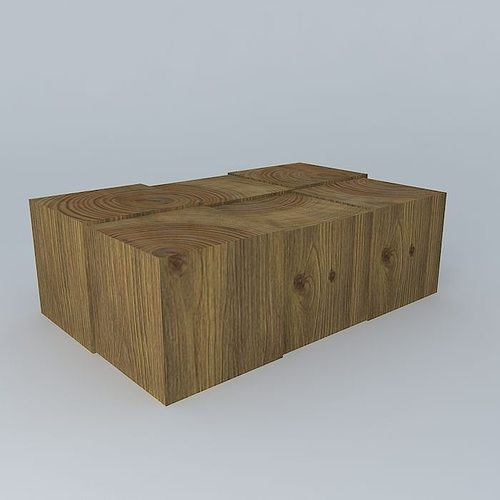 Wood Block Coffee Table 3d Cgtrader