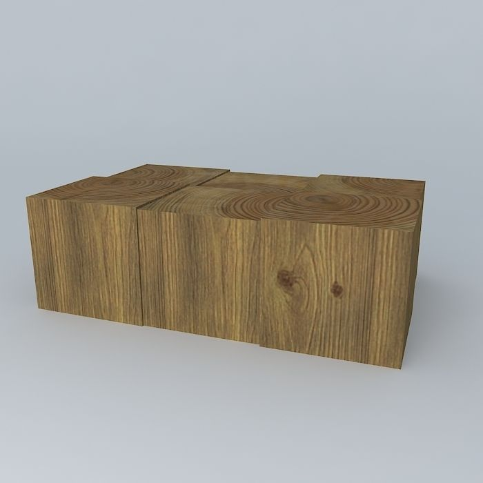 ... wood block coffee table 3d model max obj 3ds fbx stl dae 2 ... - Wood Block Coffee Table 3D Model MAX OBJ 3DS FBX STL DAE