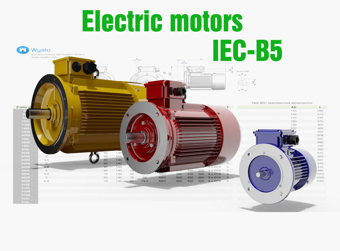 21 cad models electric motors iec b5 3d model dwg ipt for Used industrial electric motors